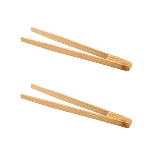 Larew Juego de 2 pinzas de cocina con bambú de madera para tostar, ensaladas, barbacoas, cocinar, hornear, freír, pasteles, panes