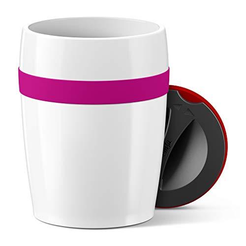 Emsa N2060400 Travel Cup Ceramics Isolierbecher, Keramikbeschichtung, Weiß/Himbeer 11,2 cm