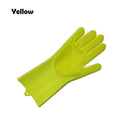 1PC Siliconen Vaatwashandschoenen Schrobvaatwashandschoenen Reinigingshandschoenen Voor huisgerechten Keukengereedschap, geel, linkerhand