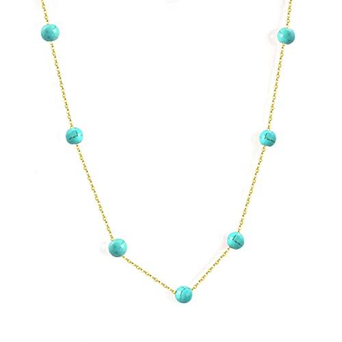 collar Gargantilla De Cadena De Eslabones Con Colgante De Piedra Azul Dorada, Collares, Joyería Para Mujer, Collar De Acero Inoxidable, Collar