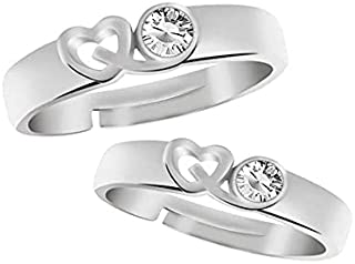 The Bling Stores King and Queen Silver Valentine Couple Ring