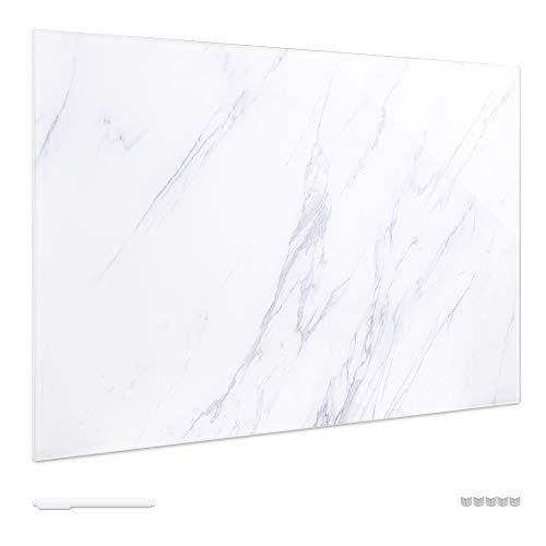 Navaris Pizarra magnética de Cristal - Tablero de Notas de Vidrio - Tablón magnético para tareas con imanes y Soporte - Diseño de mármol - Blanco