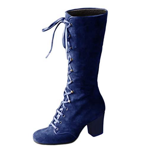 COCOCO Stiefel Schnürstiefel Damen Vintage Winter Frühling Mid-Calf Stiefel Schnürung Dicke Ferse Schuhe Runde Zehen Quadrat Ferse Retro Stiefel Hohe Stiefel(Blau,41 EU)