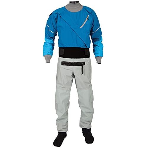 Drysuit Men's Front Zipper Sailing Standard Nylon Paddling,Kayaking Equipment Zipper,Waterproof Suit (Blue, L)