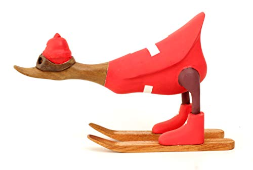 Brave Wings Hand Carved and Painted Wooden - Skiing Duck in Swiss Switzerland Flag Ski Jacket Type 3 - Wood Ornament Sculpture Figurine Statue Unique Decoration Home Decor Gift for Christmas - 2680