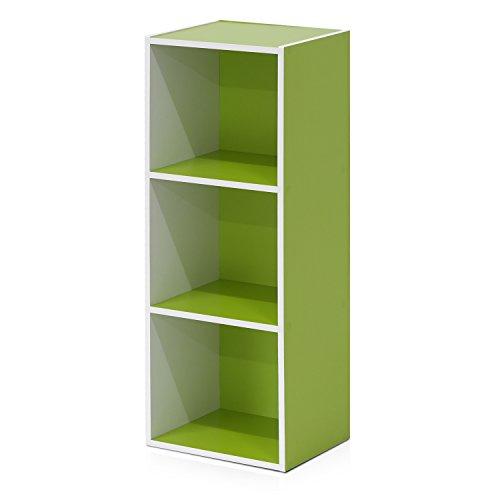 Furinno offenes Bücherregal mit 3 Fächern, holz, Weiß/Grün, 30.5 x 23.6 x 80.0 cm
