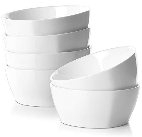 SAMSLE 28 Ounces Square Cereal Bowls Set - Durable Porcelain Serving Bowls for Fruit Salad Dessert Snack, Chip Resistant, Dishwasher & Oven Safe - White, Set of 6