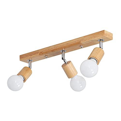 Puhui Lámpara de techo LED de metal y madera, E27, lámpara de pared retro, vintage, foco giratorio, para salón, dormitorio, escaleras y pasillo (sin bombilla)
