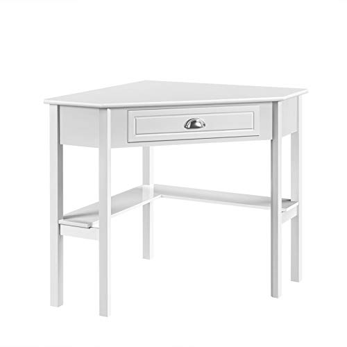 YAHEETECH Corner Computer Desk, Home Office Writing Desk Laptop PC Table with Storage Drawer & Shelves, Children's Study Workstation for Small Space, White