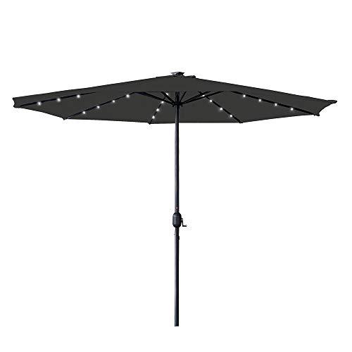 LZQ Ombrellone con manovella, Ø 350 cm, ombrellone con LED, ombrellone mercato, con manovella, protezione UV UPF 40+, ombrellone da giardino, terrazza, protezione solare, senza supporto