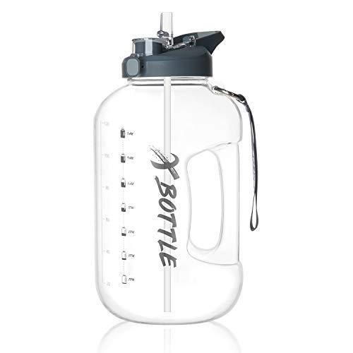 1 Gallon Water Bottle with Straw & Chug lid (optional), BPA Free Dishwasher Safe 128oz Large Water Bottle with Motivational...