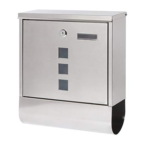 Decaller Stainless Steel Mailboxes with Sturdy Key Lock, Wall Mounted Waterproof Mail Box with...