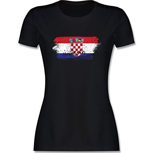 Fußball-Europameisterschaft 2020 - Kroatien Vintage - M - Schwarz - Trikot Kroatien 2018 - L191 - Tailliertes Tshirt für Damen und Frauen T-Shirt