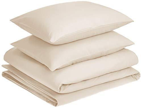 Amazon Basics - Juego de fundas de edredón y almohada de microfibra premium (200 x 200 cm / 50 x 80 cm), beige