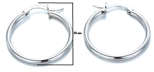 Aros Plata de Ley 925, Pendiente de aro fino con cierre de bisagra, – Diámetro: 25 mm. Plata Autentificada en Laboratorio de Metales Preciosos de Madrid