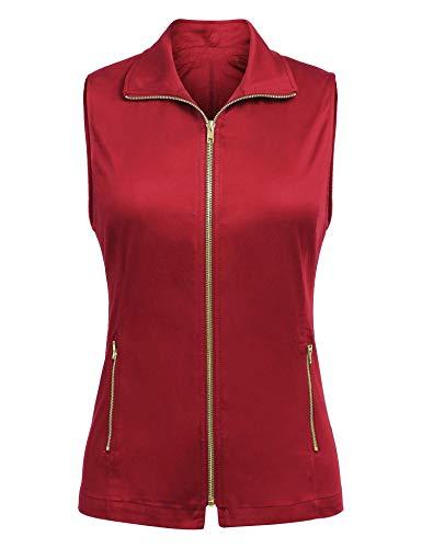 Pinspark Ladies Plus Size Military Traval Vest Zipper Closure Sleeveless Jacket Wine Red L