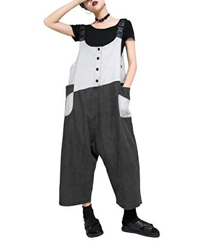 ellazhu Damen Jumpsuit Patchwork Casual Denim lang verstellbar Overalls GY1895 schwarz