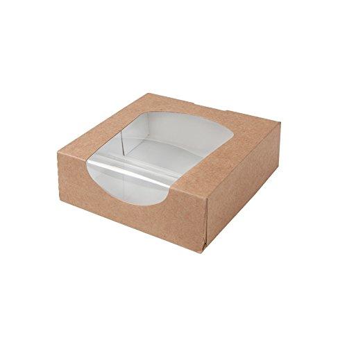 BIOZOYG Caja para pastelería Color marrón 600ml I Embalaje compostables Regalo cartón con Ventana de visualización de PLA I Patisserie Caja Torta pequeña I 250x Cajas de Regalo 11.8 x 11.8 x4cm