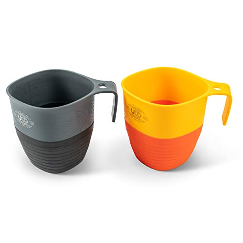 UCO Collapsible Cup for Hiking, Backpacking, and Camping, 2-Pack, Retro Sunrise/Venture, 12-Ounce