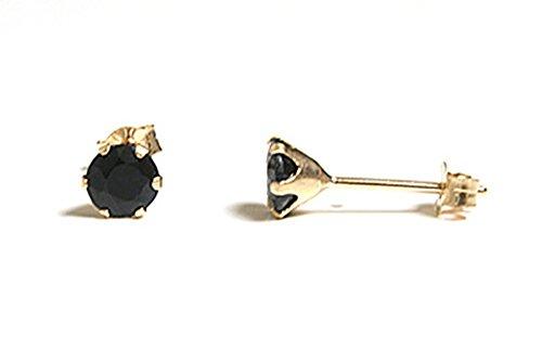 Peninsula Jewellery - Orecchini a perno rotondi, in oro 9 kt, con zaffiro, 4 mm