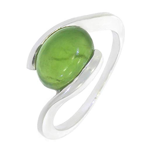 ARTIPOL Ring mit echter Jade europeische Produktion franz.Stil - Schmuck silbern-rhodiniert - Ref 30-02 - größe 56 (17.8)