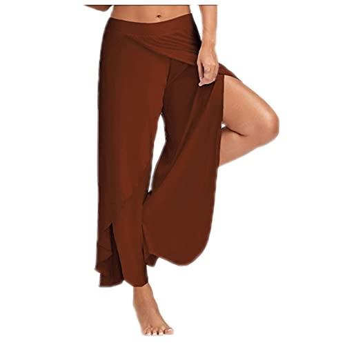 Leggings da donna, pantaloni da yoga Capri per donna, pantaloni da yoga sportivi ad alta elasticità, divisibili da donna, (#002) Caffè, XXL