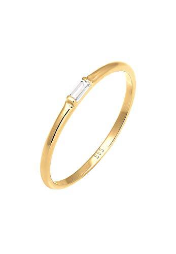 Elli PREMIUM Ring Damen Liebe Zart Dezent Edel Geo in 585 Gelbgold (14k) Topas