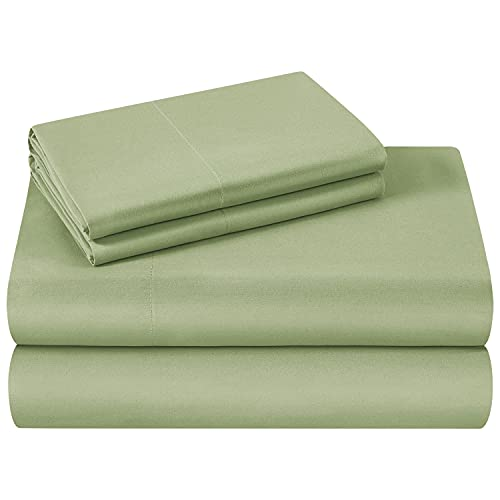 HOMEIDEAS Bed Sheets Set Extra Soft Brushed Microfiber 1800 Bedding Sheets - Deep Pocket, Wrinkle & Fade Free - 4 Piece(Queen,Sage Green)