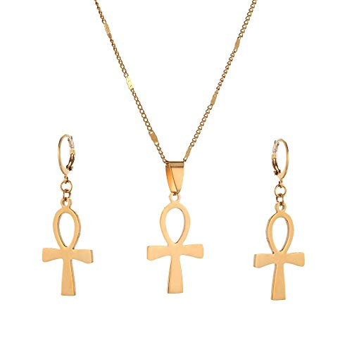 Cruz egipcia de moda de acero inoxidable Vintage La llave del Nilo Ankh Cruz colgante, collar, pendientes, conjuntos de joyas, color dorado, 50cm