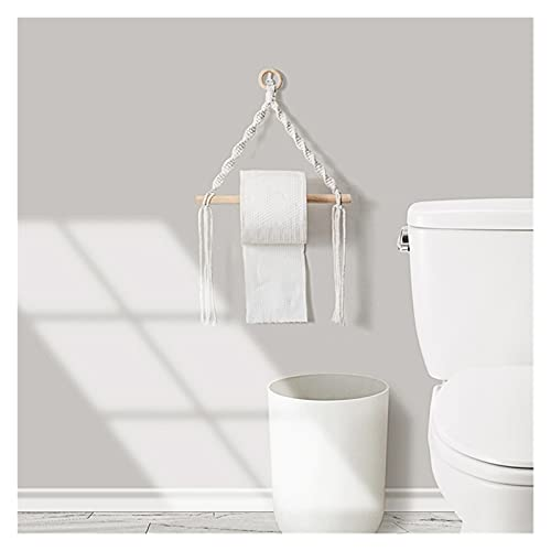 XiaoYing Decoración de pared Soporte de papel higiénico tejido a mano Tapiz de encaje para colgar en la pared de baño toallero decoración (color: multicolor, tamaño: mediano)