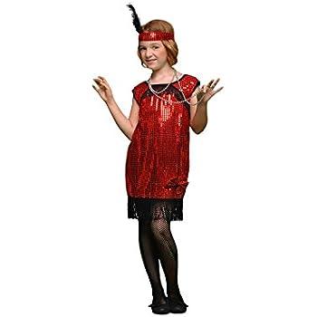 Disfraz de Charlestón rojo en varias tallas para niña: Amazon.es ...
