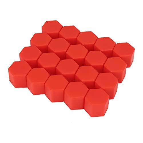 X AUTOHAUX 20 Stück 21 mm Universal Red Silikon Auto Radmuttern Lug Nabenschraube Felgenbolzen Abdeckungen Staubschutz Reifen Schraubenkappen