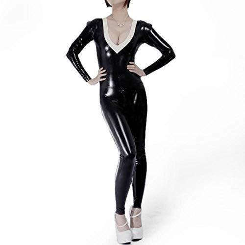 Lederunterwäsche für Damen100% Naturlatex Catsuit 0.6MM DickeBlack Latex Rubber Zentai mit weißem Zierrücken Reißverschluss durch Crotch-White_S