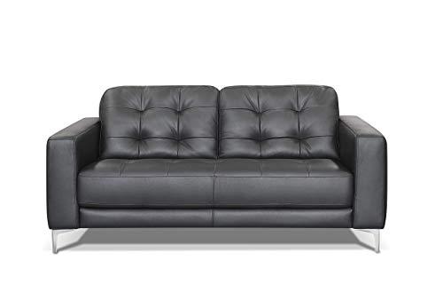 Marchio Amazon -Alkove, divano in pelle modello Holt, stile moderno, 2 posti, colore nero