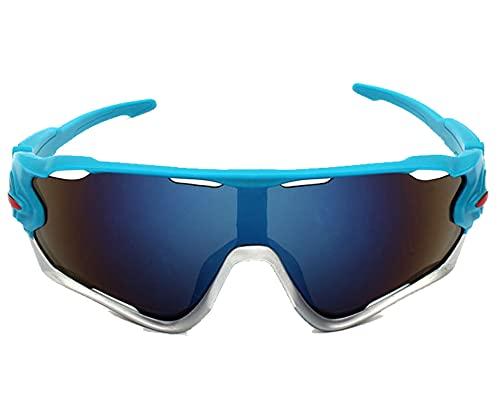 AILINSHA Gafas de Sol Deportivas de Gafas polarizadas de protección UV400 Protección PC Marco Ciclismo Gafas para Hombres Mujeres Ciclo de Carretera Gafas Béisbol Correr Golf Blue