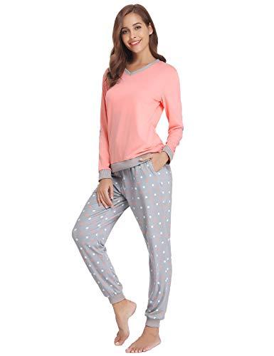 Abollria Schlafanzug Damen Pyjama Set Baumwolle Lang Mädchen Langarm Hausanzug Sleepwear öko Freizeitanzug Hausanzug Anzug V Aussschnitt mit Gepunkte Hose