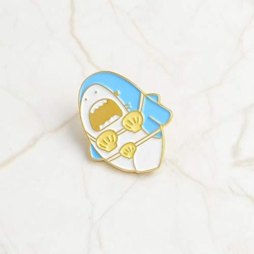 chenlong Emaille Pins Blaue Brosche Abzeichen Denim Shirt Anstecknadel Cartoon Schmuck Geschenk Für Kinder Bikini Hai