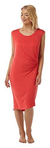 Damen Jersey-Strandkleid mit seitlichem Knoten, ärmellos, Koralle oder Schwarz, Größen 36-50 Gr. 40, korallenrot