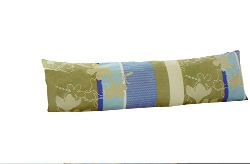 Renforce katoenen kussensloop voor zijslaapkussen oker/blauw 40 x 145 cm NIEUWWARE