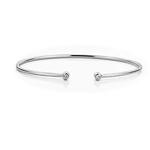 Orovi Damen Diamant Armband Weißgold, Armreif mit Diamanten 9 Karat (375) Gold und Diamanten Brillanten 0.11 Ct, 6.5 cm lang