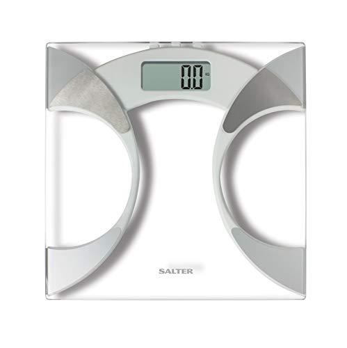 Salter Ultra Slim Analyzer Básculas de baño, Medición Peso BMI Porcentaje de grasa corporal Agua corporal, Diseño delgado de 25 mm, Vidrio resistente de 6 mm con alfombra