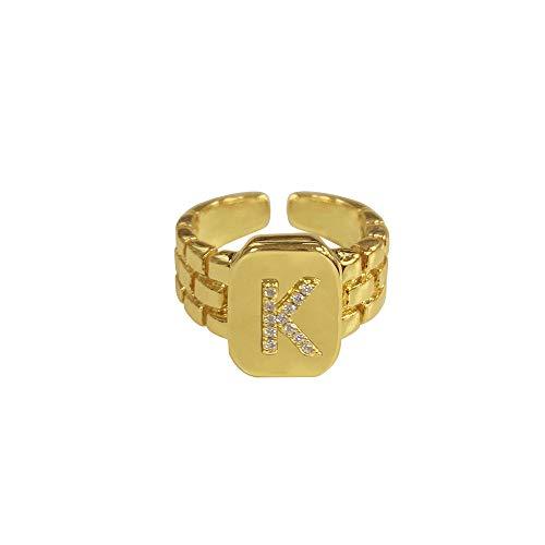 DGSDFGAH Anillo Mujer K Ring Hip Hop Reloj De Anillo con Letra AZ De Oro Ajustable con Correa Cuadrada Anillo Inicial De Mujer para Hombre