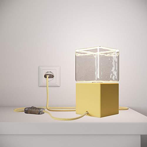 creative cables Posaluce Cubetto Color, lámpara de Mesa de Madera lacada con Cable Textil, Interruptor y Enchufe de 2 Polos - Sin Bombilla, Amarill