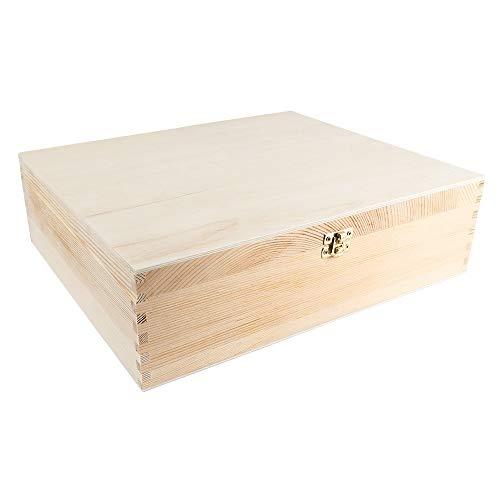 Weinkiste, Holz, mit Deckel, 3 Innenfächer, 35cm x 30cm x 10cm, mit goldfarbenem Metallverschluss, ideal zum Basteln und Bemalen, DIY Holzkiste