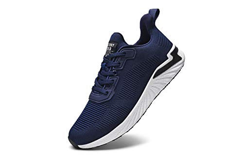 LeKuni Laufschuhe Damen Herren Sneaker Schuhe Turnschuhe Sportschuhe Straßenlaufschuhe Walkingschuhe für Outdoor Fitness Walkingschuhe Atmungsaktive Freizeit Bequeme Leichtgewichts(Dunkelblau,37)