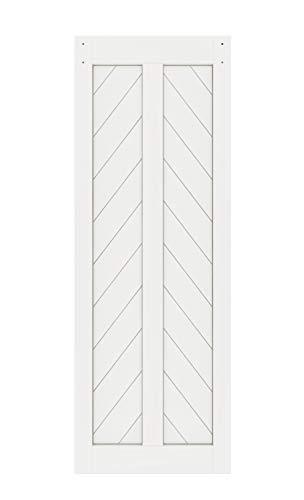 DIYHD 30X84in Fish Bone V Shape Sliding Barn Slab MDF Solid Core Primed Interior Panel(Disassembled), 30X84 in, White Door