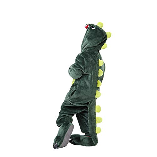 DEBAIJIA Enfant Pyjamas Animal en Flanelle Jumpsuit Garçons Filles Vêtements De Nuit Chaud Onesie,Vert Dinosaure,135(Hauteur recommandée: 144-158cm)