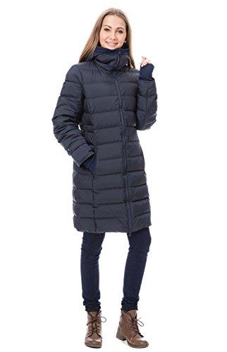 GoFuture Damen Tragejacke für Mama und Baby 4in1 Känguru Jacke Umstandsjacke Winterjacke Winter GF2265XB in Marine mit rotem Futter