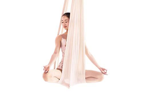 E-Bestar Aerial Yoga Hammock Set Anti gravità Yoga Swing Elastico Yoga Amaca Senza Cuciture Aerial Silks (Bianco)