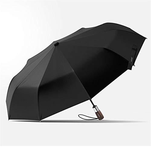 NJSDDB paraplu 1.15M Wind Resistant 3 Vouwen Automatische Paraplu Regen Vrouwen Auto Merk Houten Anti UV Grote Zonnescherm 10K Winddicht, Zwart